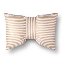gold u0026 white metallic stripe bow throw pillow xhilaration target