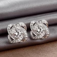 cubic zirconia stud earrings wholesale silver plated cubic zirconia stud earrings