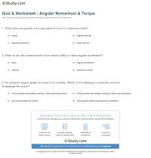 quiz worksheet angular momentum torque study com