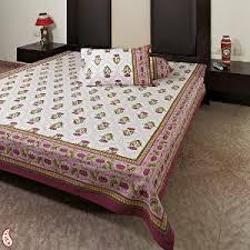 aapno rajasthan traditional lotus gold print king size cotton bed