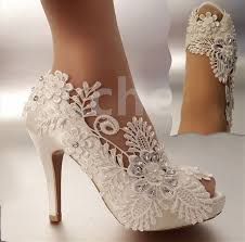 wedding shoes bridal 3 4 heel satin white ivory lace pearls open toe wedding shoes