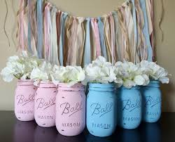 Shabby Chic Bridal Shower Decorations by Painted Mason Jars Baby Shower Decor Gender Reveal Decorations