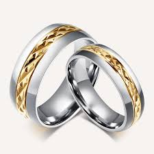 metal stone rings images Stainless steel gold diamond cut center wedding ring no stone jpg