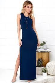 reduced navy blue shield and sword navy blue sleeveless maxi dress