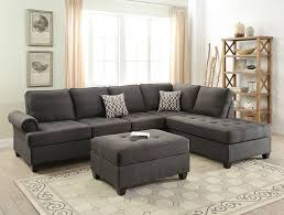 Sectional Sofa With Ottoman Black Dorris Fabric Sectional Sofa Ottoman Set