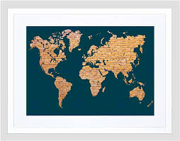 Framed Map Of The World by World Map Continents Made Brick Black Frame Framed Art Print