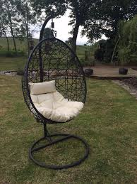 Outdoor Wicker Egg Chair Outsunny Rattan Swing Chair In Outdoor Patio Furniture Cushion