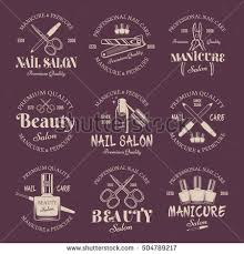 manicure salon set vector colored emblems stock vector 504789217