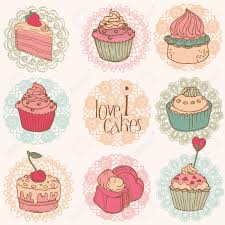 Cute Cup Designs Cute Card With Cakes And Desserts For Your Design And Scrapbook