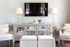 White Tv Cabinet With Doors Gray Mirrored Tv Cabinet With Ls Transitional