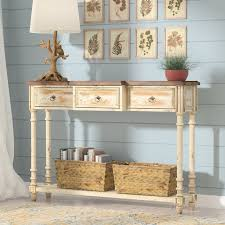 Low Console Table August Grove Preusser 3 Drawer Console Table U0026 Reviews Wayfair