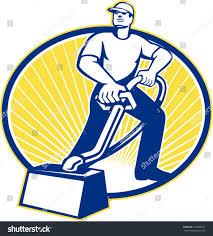 illustration carpet cleaner worker vacuuming vacuum stock vector