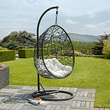 rattan wicker garden patio hanging swing chair seat black