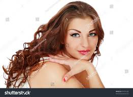 beautiful plussize woman brown curly hair stock photo 41677108
