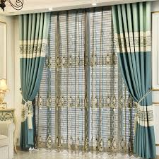 Patio Door Curtain Blue Floral Jacquard Chenille Patio Door Curtains For Living Room