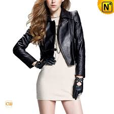 Zipper Pleated Sewing Black Leather Motorcycle Jackets For Women
