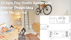 13 sqm tiny studio apartment interior design idea with mezzanine