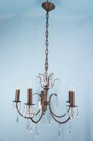 1950s Chandelier Antique Bronze Painted Crystal Chandelier