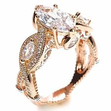 cubic zirconia engagement rings white gold 18k or white gold plated marquise cut cubic zirconia