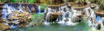 3d long waterfall pond entire living room business wallpaper wall