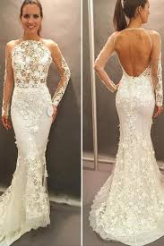 Long Sleeve Lace Wedding Dress Open Back Long Sleeves Lace Appliques Open Back Court Train Wedding Dress