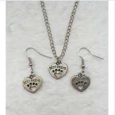 best earrings 1 set of retro silver best friend pendant necklace earrings