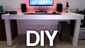 Build A Wood Desk Top by Building A Custom Pc Desk No Visible Cables Youtube