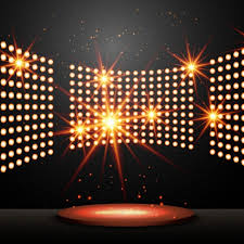 podium with lights and shining vector free
