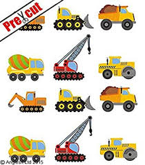 construction cake toppers pre cut construction vehicles edible rice wafer paper cup cake