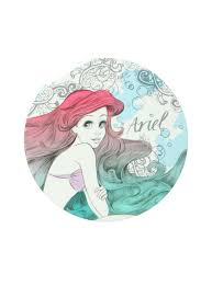 disney the little mermaid ariel sketch button mirror topic