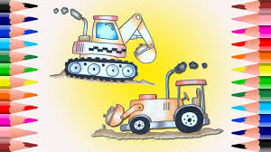 how to draw backhoe tractor excavator digger cartoon coloring