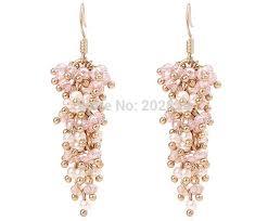trendy gold earrings trendy women pearl earring gold color pink white