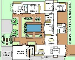 Home Plans With Courtyards U Shaped House Plans With Pool In The Middle Courtyard
