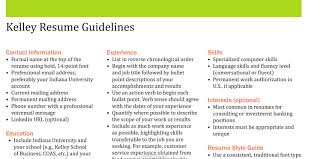 guidelines for what to include in a resume resume sles kelleyconnect kelley school of business