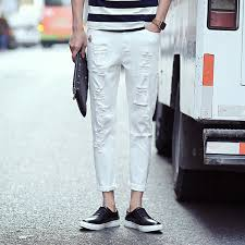 Skinny Jeans With Holes 2016 New White Ripped Jeans Men With Holes Super Skinny Famous