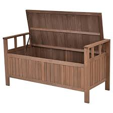 Wood Outdoor Storage Bench Giantex 70 Gallon Storage Bench All Weather Outdoor Patio Storage