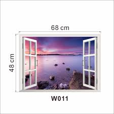 creative home decor 3d fake window wall stickers purple seascape