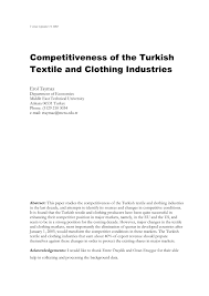 competitiveness of the turkish textile and clothing industries