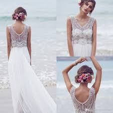 cheap designer wedding dresses cheap 2015 bohemian wedding dress v neck a line split side