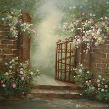 2018 white pink flowers garden backgrounds digital painted brick
