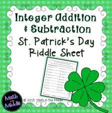 integer addition u0026 subtraction st patrick u0027s day riddle sheet