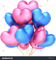 Birthday Home Decoration Party Heart Balloons Birthday Decoration Pink Stock Illustration