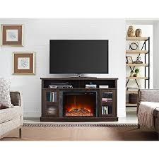 entertainment centers with glass doors amazon com ameriwood home barrow creek fireplace console with