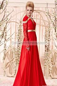 floor length red v neck long sleeve formal dress evening gown