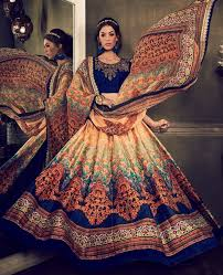 buy royal blue color digital print party wear lehenga in uk usa