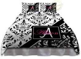 Black And White Damask Duvet Cover Queen Black And White Duvet Cover Designer Bedding Black And Pink