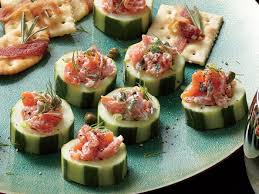 canape cups recipes smoked salmon salad in cucumber cups recipe myrecipes