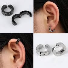 clip on earrings for men 2pair men stainless steel piercing ear stud cuff hoop non