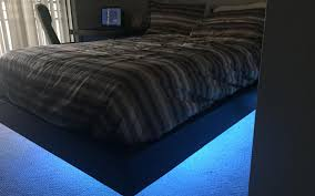 Floating Bedframe by Diy A Glowing U0026 Floating Bed Hobbyearth
