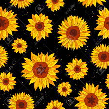 sunflower wrapping paper seamless vector pattern of sunflowers on a black background